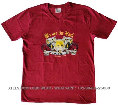 Custom logo printed v neck t-shirts