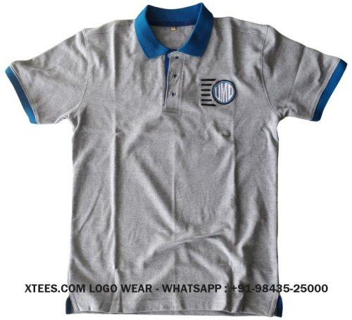 Custom logo embroidered round neck t-shirts