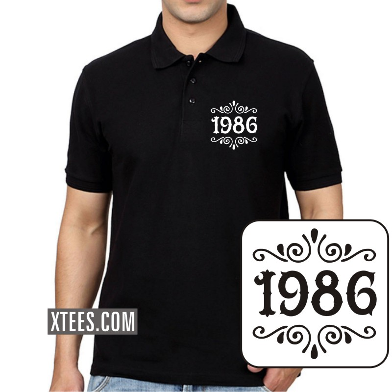 1986 Birth Year Collar Polo T-shirts image