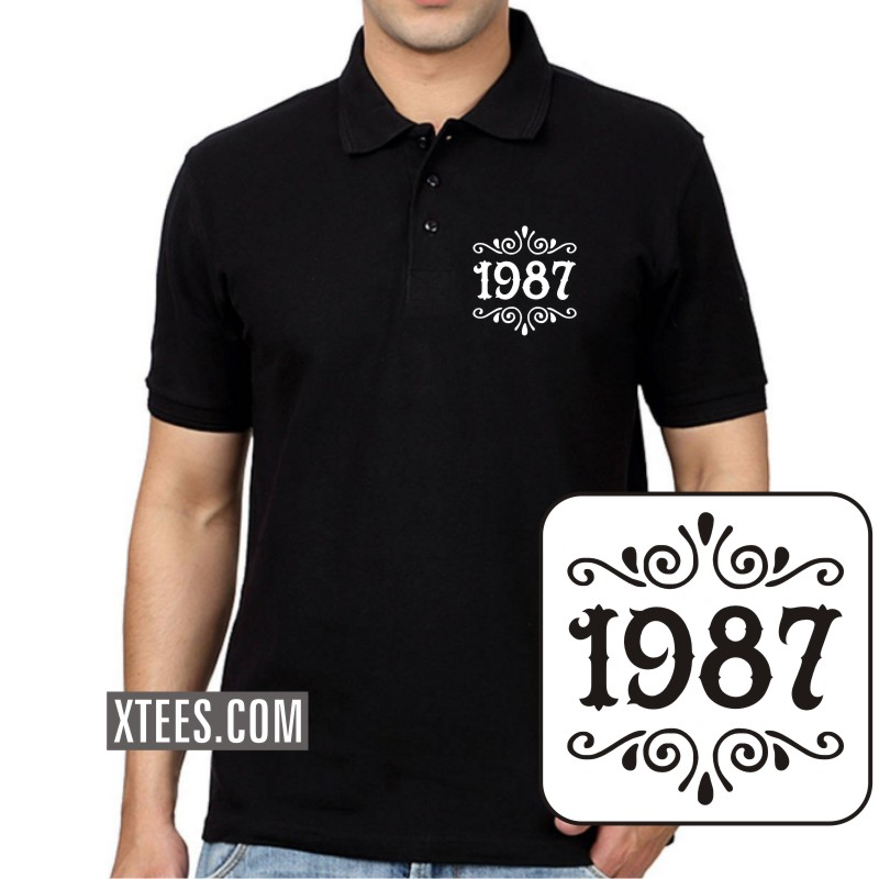 1987 Birth Year Collar Polo T-shirts image