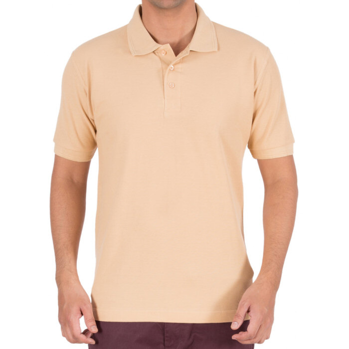 Beige Plain Collar Polo T-shirt image