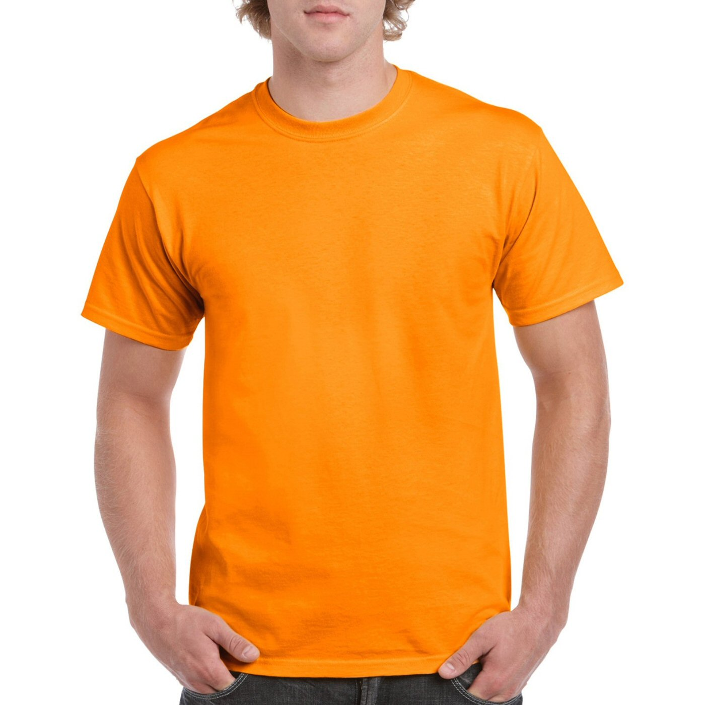 Dark Orange Plain Round Neck T-shirt image