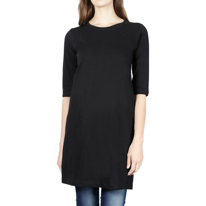 Black Plain Women 3-4th Sleeve Long Tops image