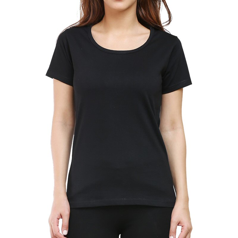 Black Plain Women Round Neck T-shirt image