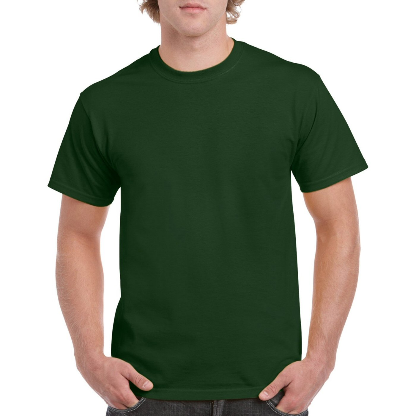 Bottle Green Plain Round Neck T-shirt image