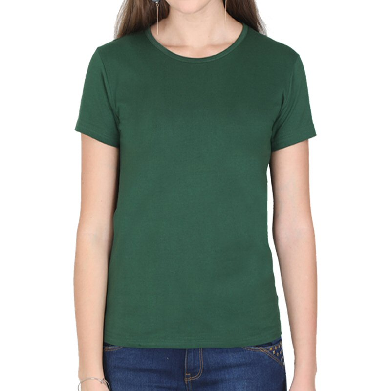 Bottle Green Plain Women Round Neck T-shirt image