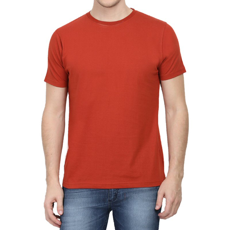 Brick Red Plain Round Neck T-shirt image