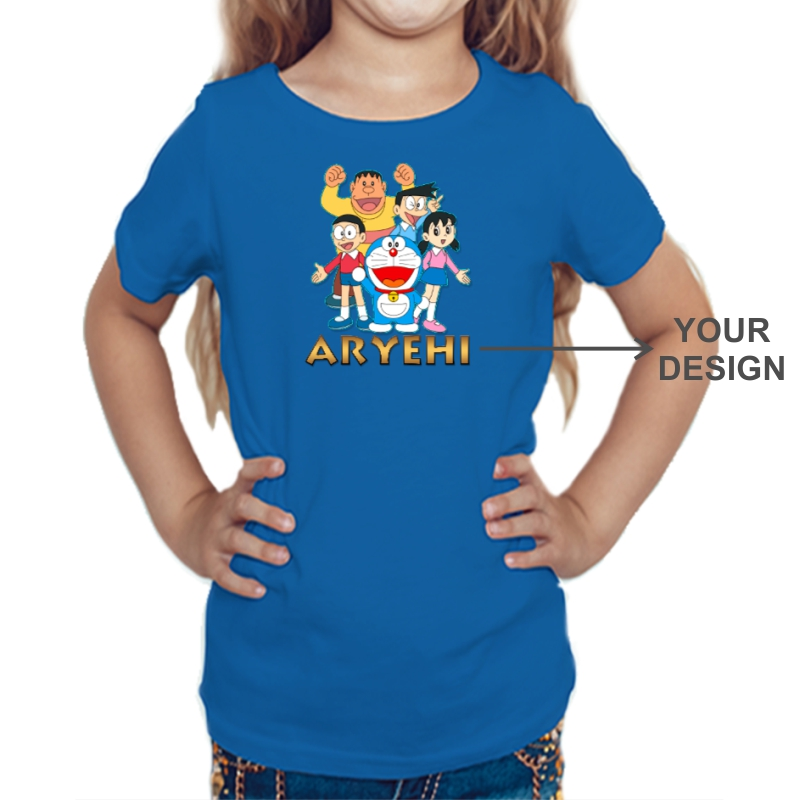 Custom Printed Kids Girls Round Neck T-shirt image
