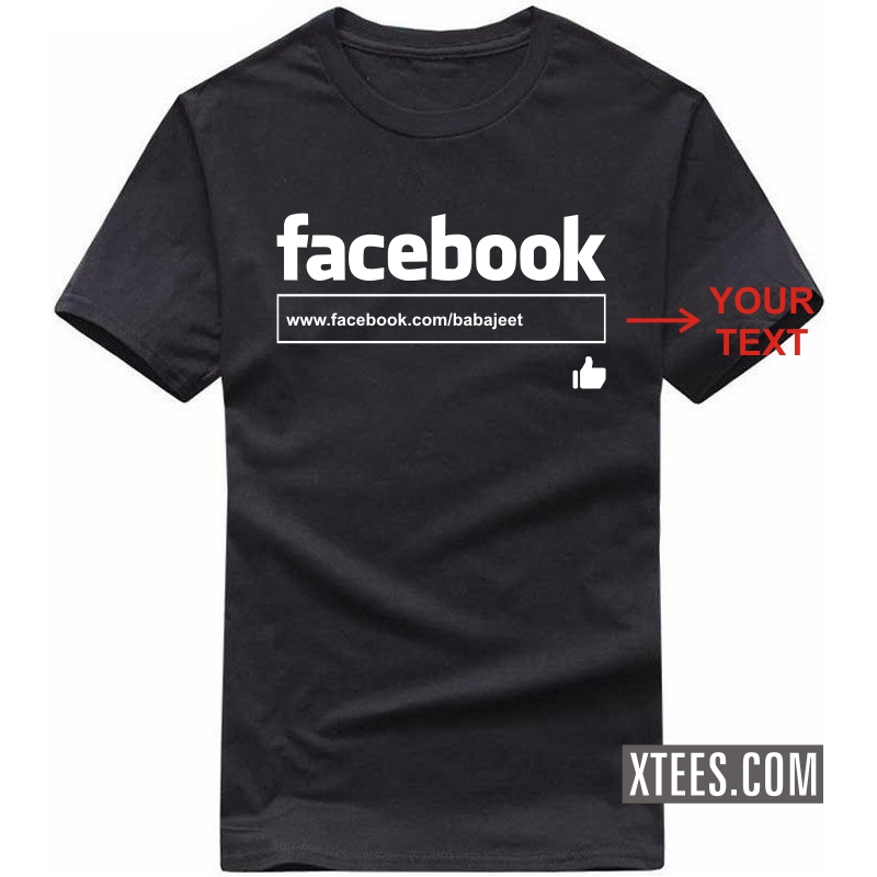 Facebook Search Box Custom Text Printed Round Neck T-shirt image