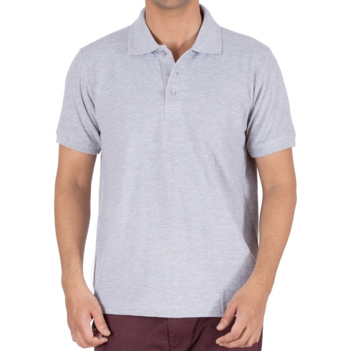Grey Melange Plain Collar Polo T-shirt image