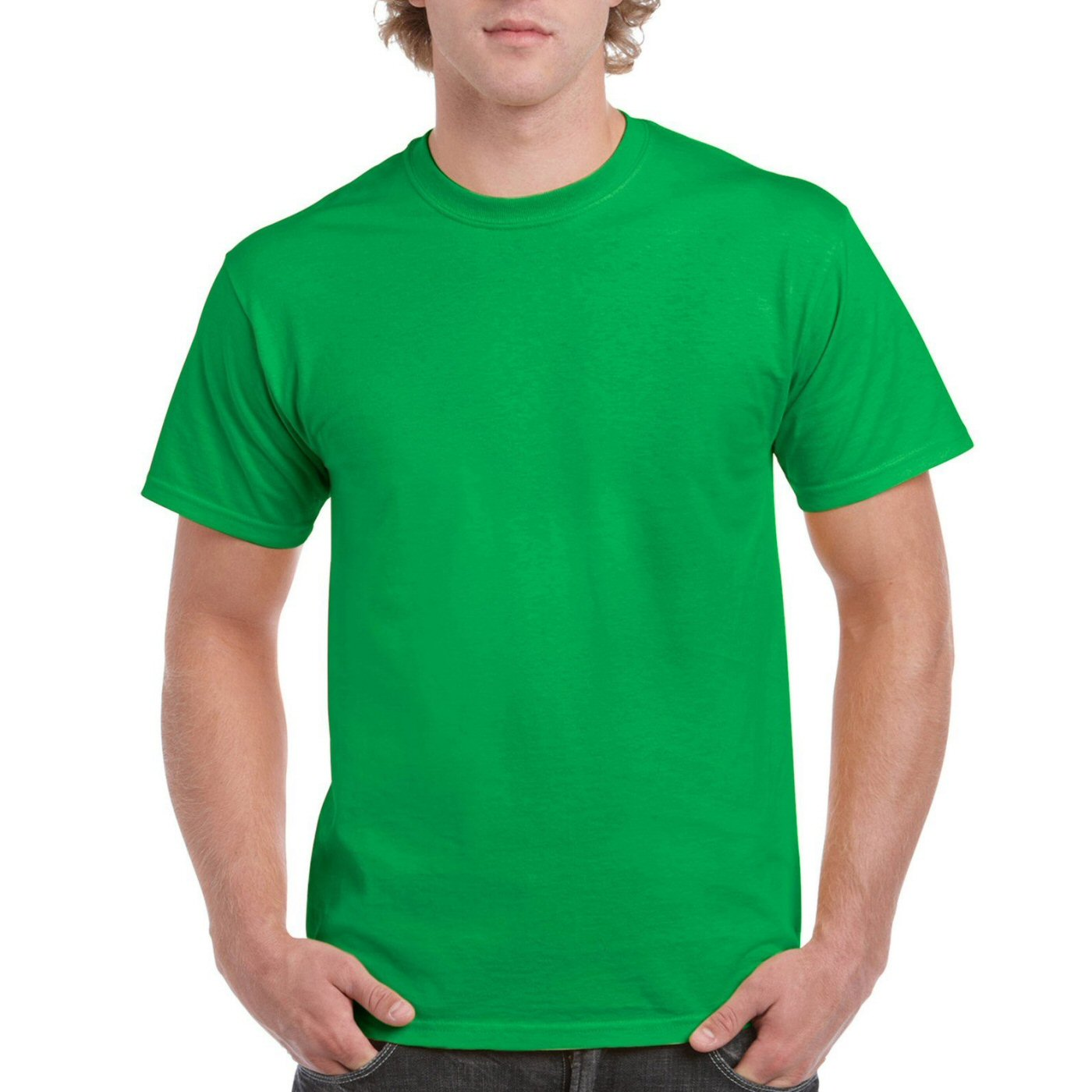 Flag Green Plain Round Neck T-shirt image