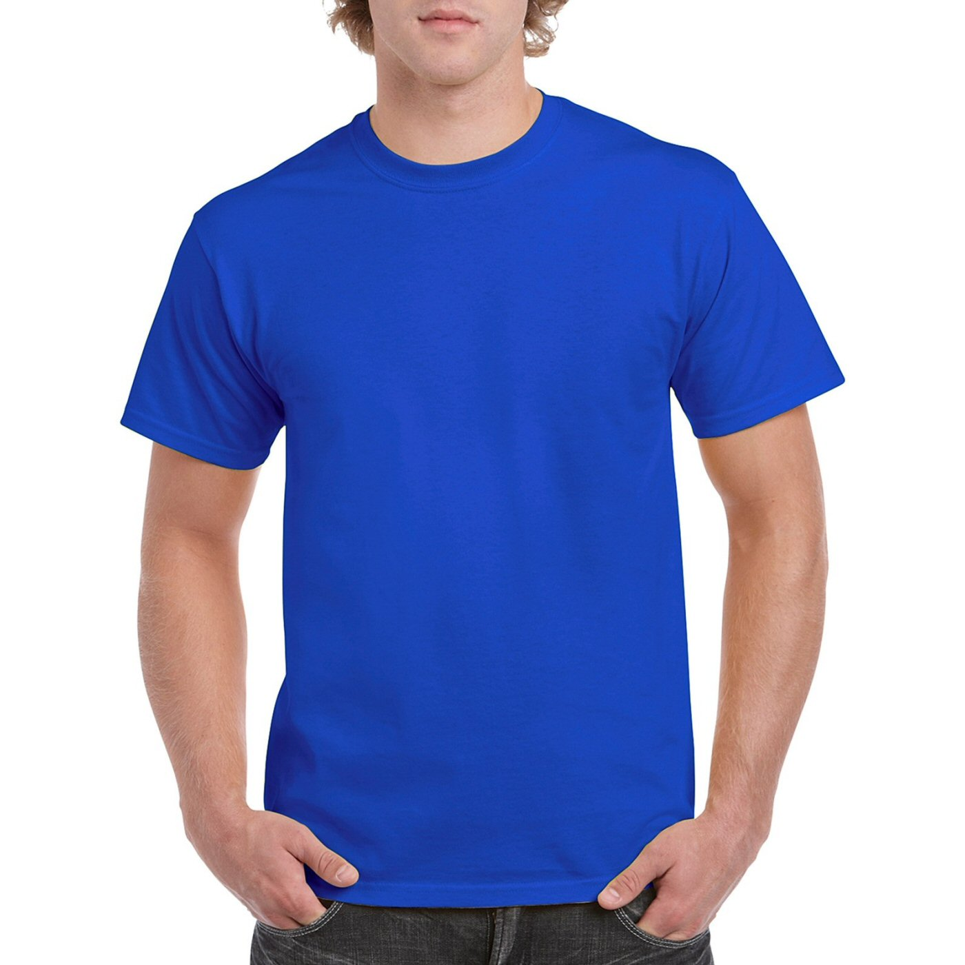 2019 wholesale price exclusive deals rich and magnificent Royal Blue Plain Round Neck T-shirt