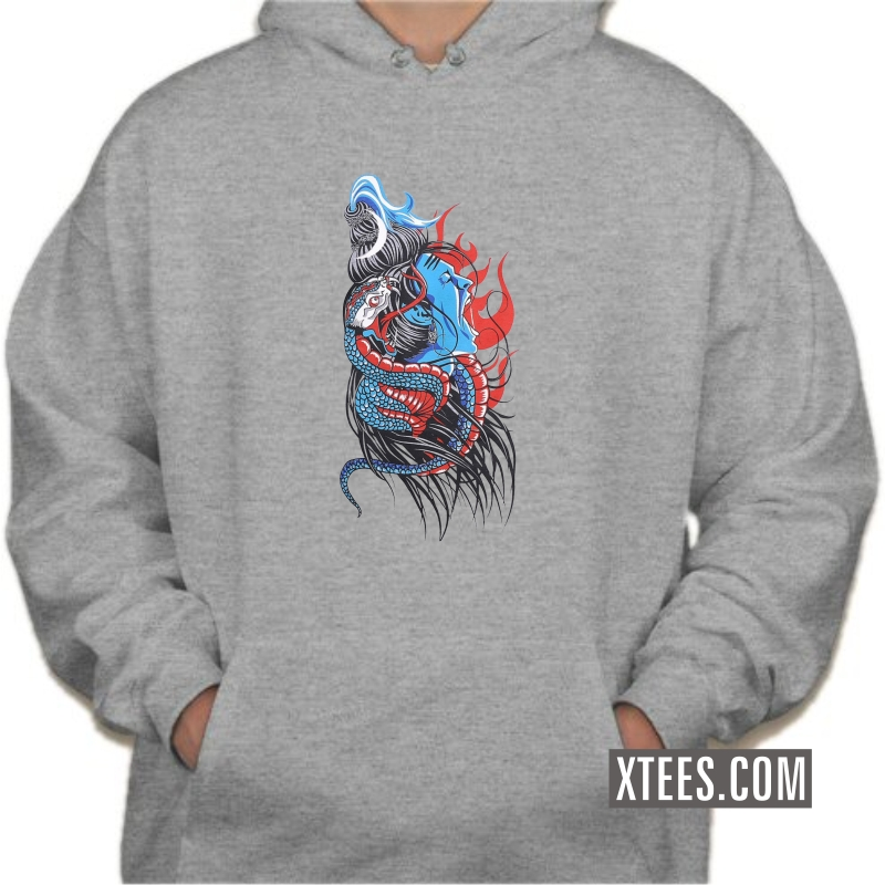 Fierce Bhagwan Shiva With Snake Slogan Hooded Sweat Shirts image