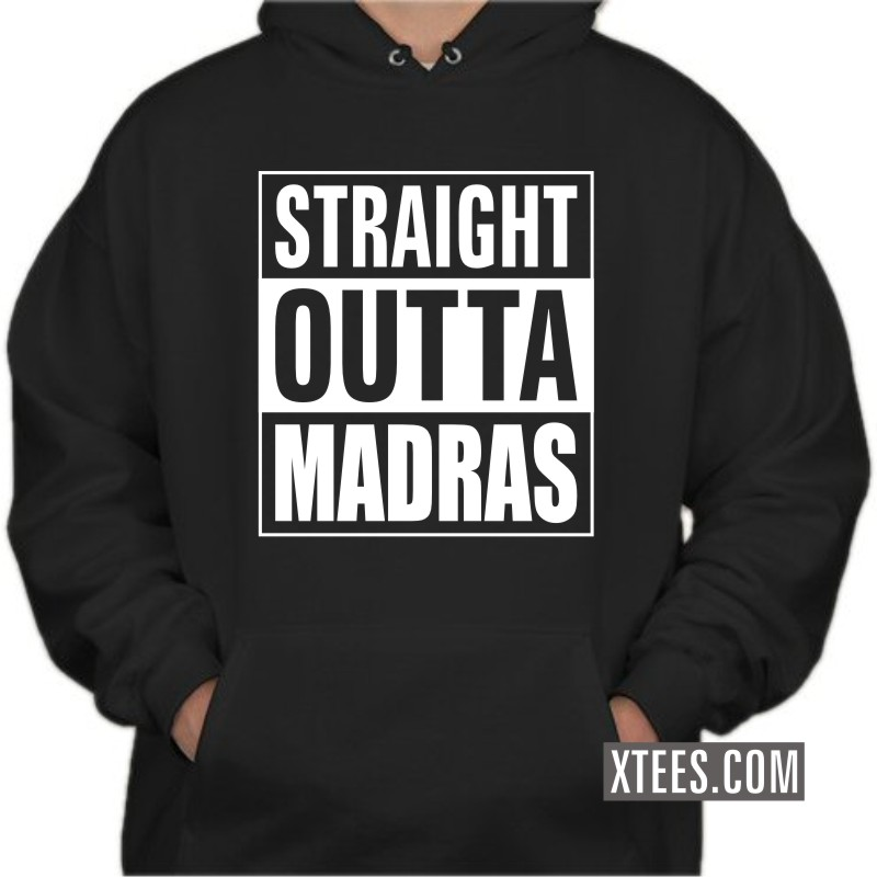 Straight Outta Madras Slogan Hooded Sweat Shirts image