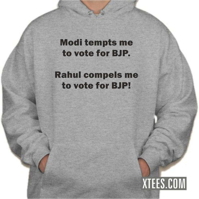 Modi Tempts Rahul Compels Me To Vote For Bjp Hooded Sweat Shirt image