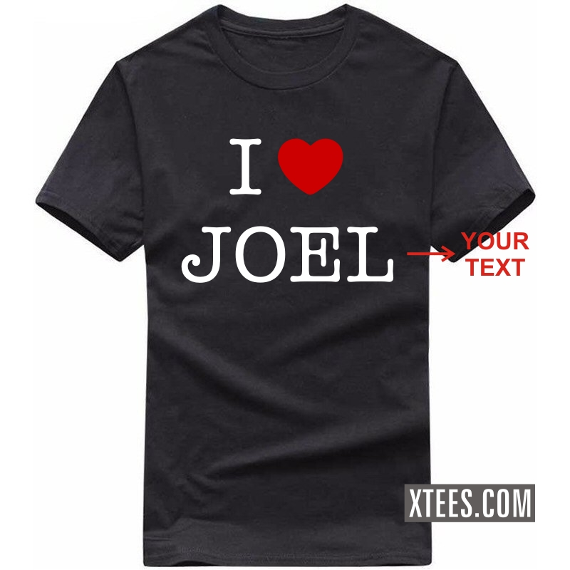 I Love Custom Text Printed Round Neck T-shirt image