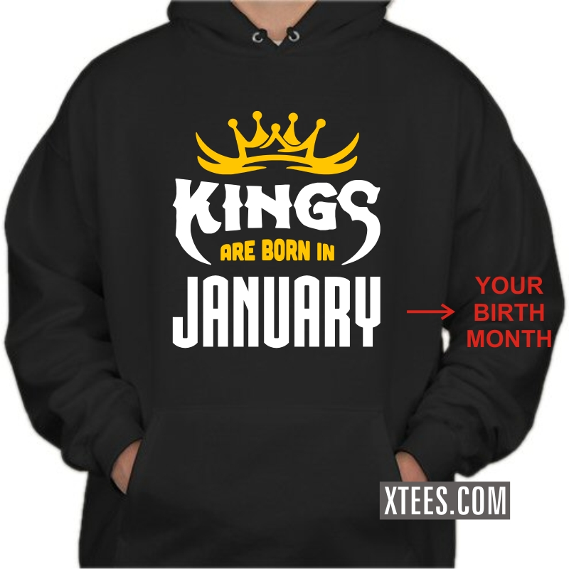 Kings Are Born In < Birth Month > Birthday Personalised Hooded Sweat Shirts image
