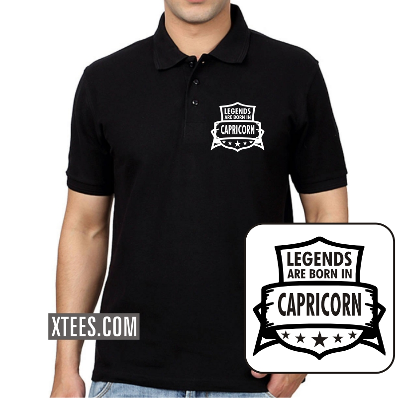 Legends Are Born As Capricorn Zodiac Collar Polo T-shirts image