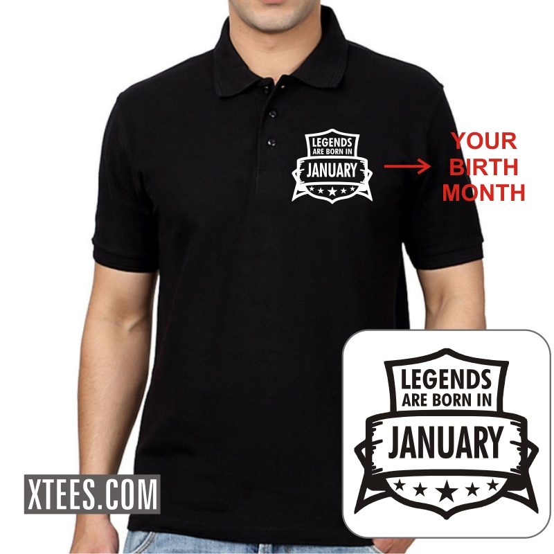 Legends Are Born In < Birth Month > Birthday Personalised Collar Polo T-shirts image