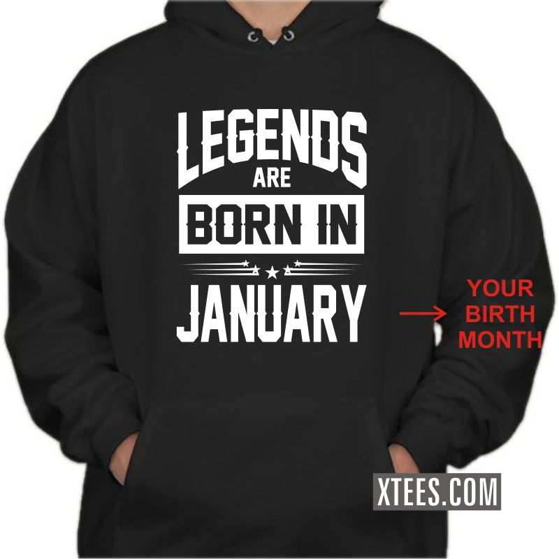 Legends Are Born In Birth Month Birthday Personalised Hooded Sweat Shirts Image