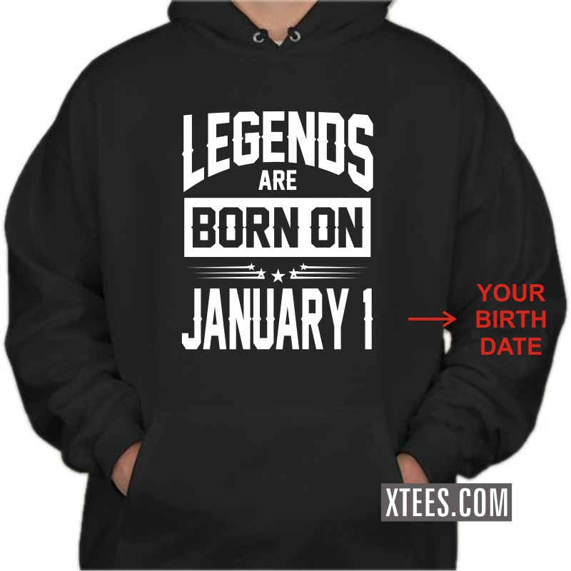 Legends Are Born On < Birth Day Date > Birthday Personalised Hooded Sweat Shirts image