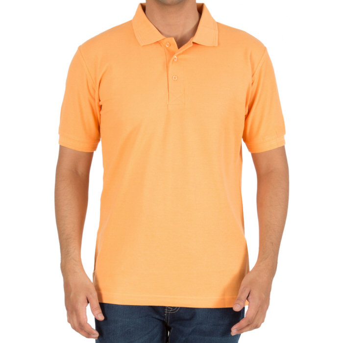 Light Orange Plain Collar Polo T-shirt image