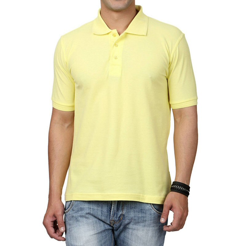 Light Yellow Plain Collar Polo T-shirt image