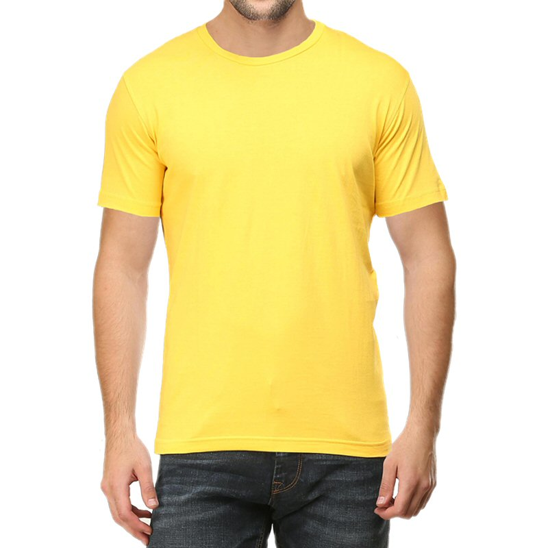 Light Yellow Plain Round Neck T-shirt image