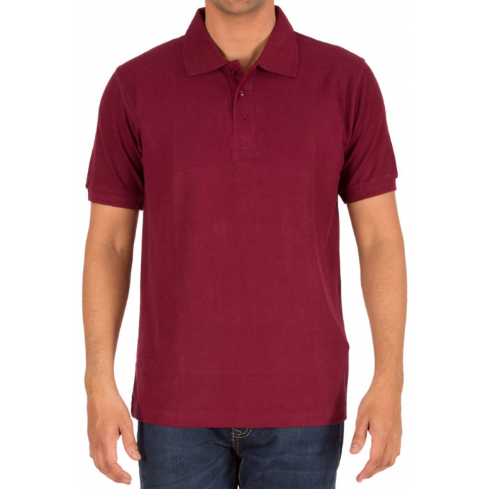 Maroon Plain Collar Polo T-shirt image
