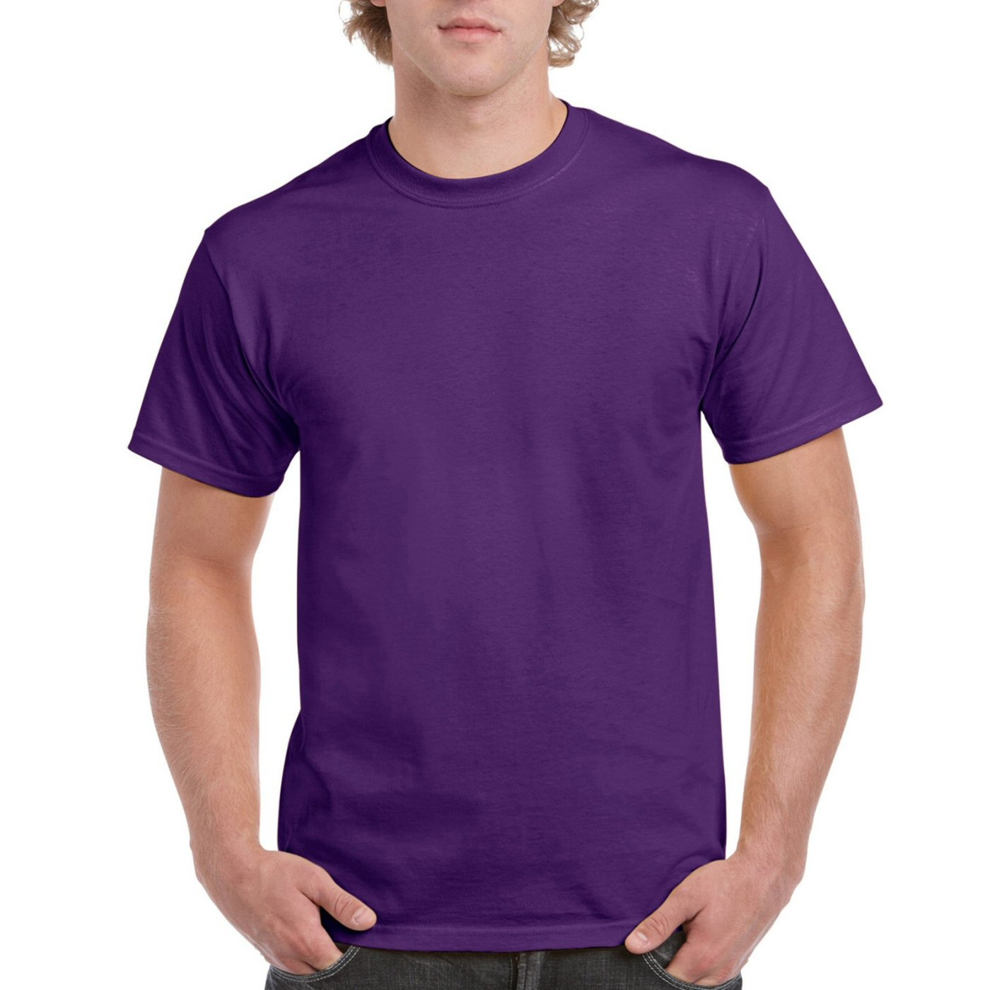 Purple Plain Round Neck T-shirt image