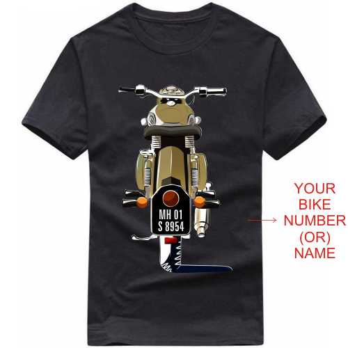 Royal Enfield Bullet Motorcycle Custom Number Plate T-shirt image