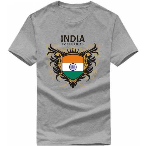India Rocks India Patriotic Slogan  T-shirts image