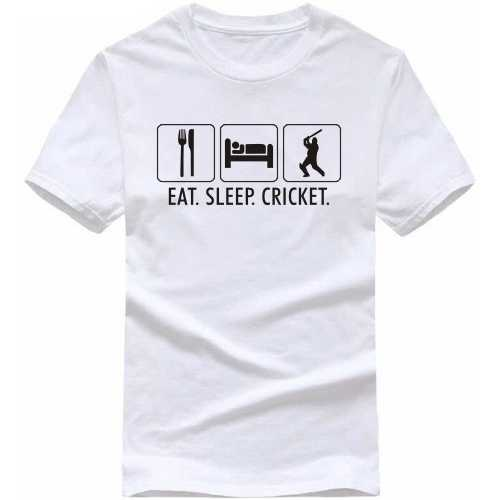 Eat Sleep Cricket Cricket Slogan T-shirts image