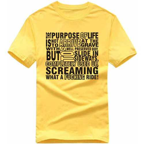 The Purpose Of Life Is Not To Arrive At The Grave With A Well Preserved Body But To Slide In Sideways, Completely Used Up Screaming What A Fucking Ride Explicit (18+) Slogan T-shirts image