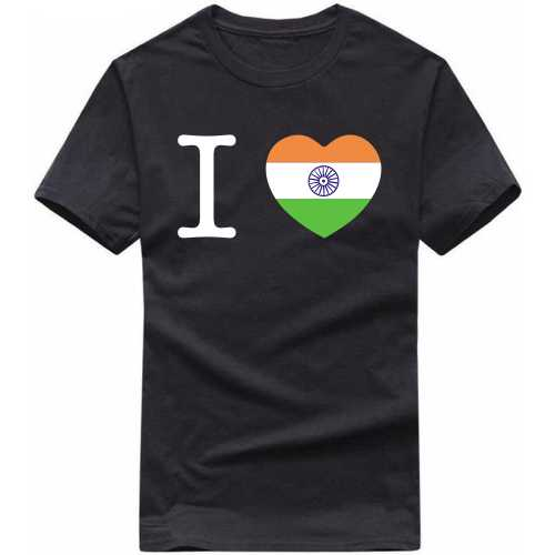 I India Flag Tri-color Heart Symbol India Patriotic Slogan  T-shirts image
