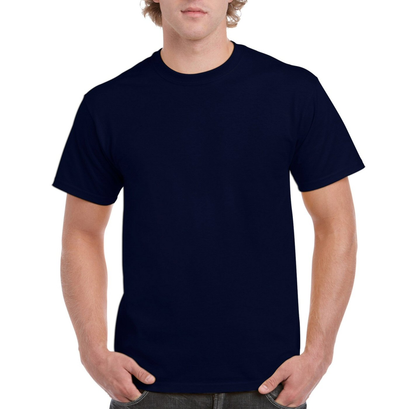 Navy Blue Plain Round Neck T-shirt image