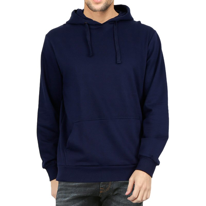 Navy Plain Men Hoodie Sweat Shirt image