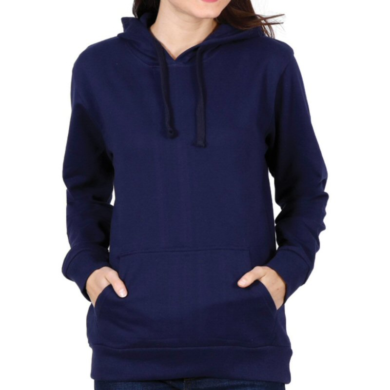 Navy Plain Women Hoodie Sweat Shirt image