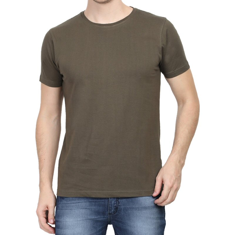 Olive Green Plain Round Neck T-shirt image