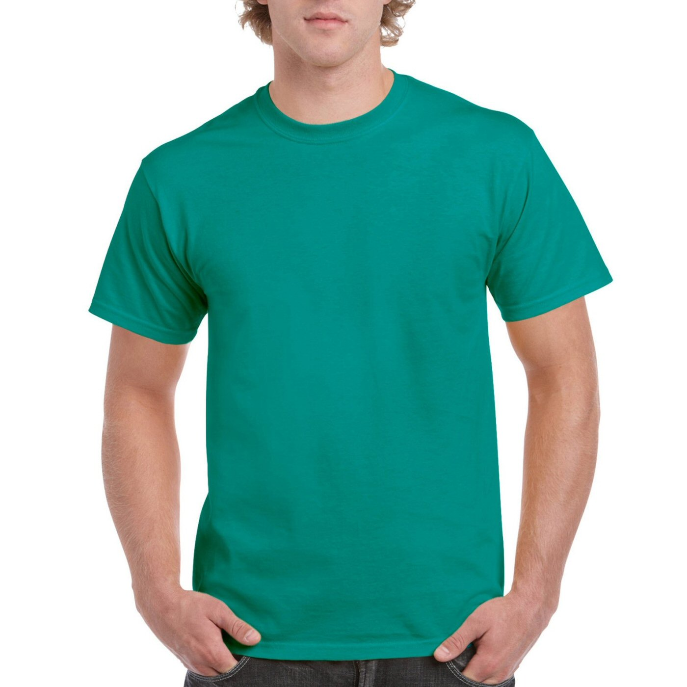 Rama Green Plain Round Neck T-shirt image
