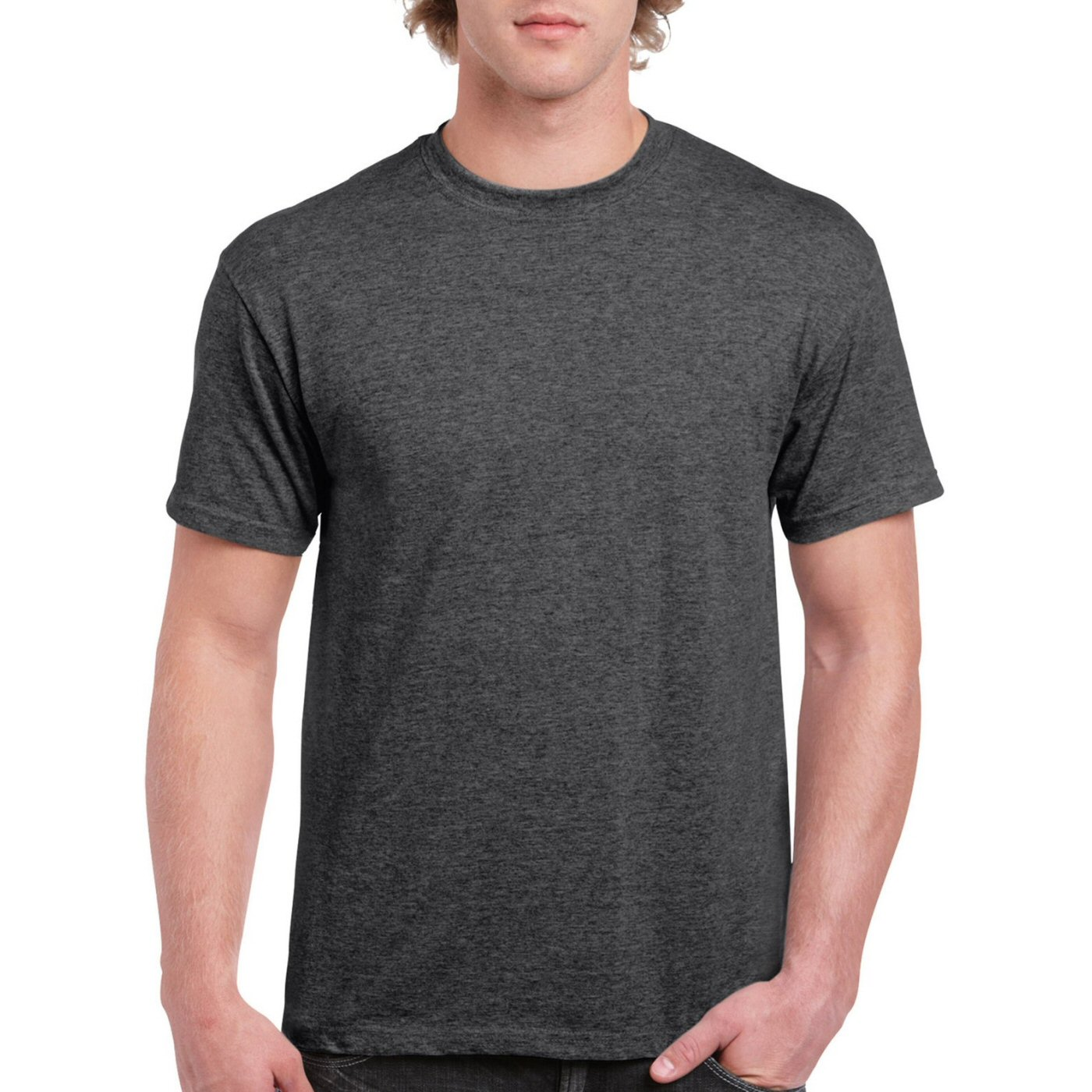 Charcoal Melange Plain Round Neck T-shirt image