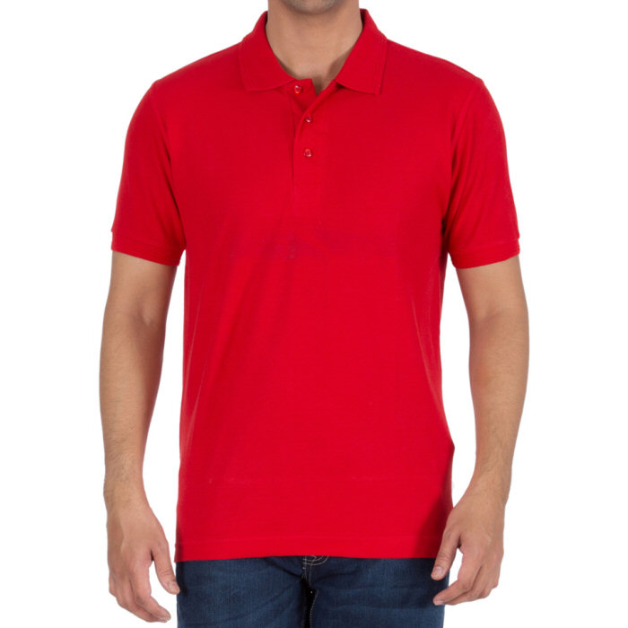 Red Plain Collar Polo T-shirt image