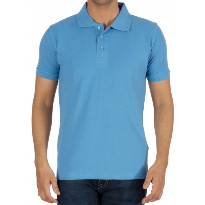 Sky Blue Plain Collar Polo T-shirt image
