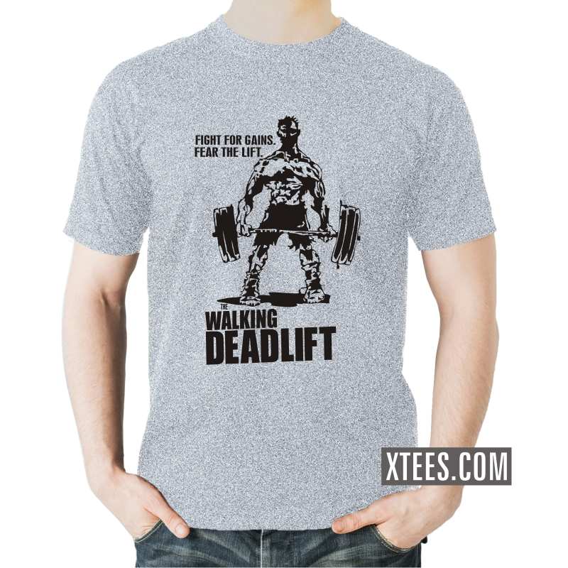 Buy the walking deadlift gym slogan t shirts for men for Gym t shirts india