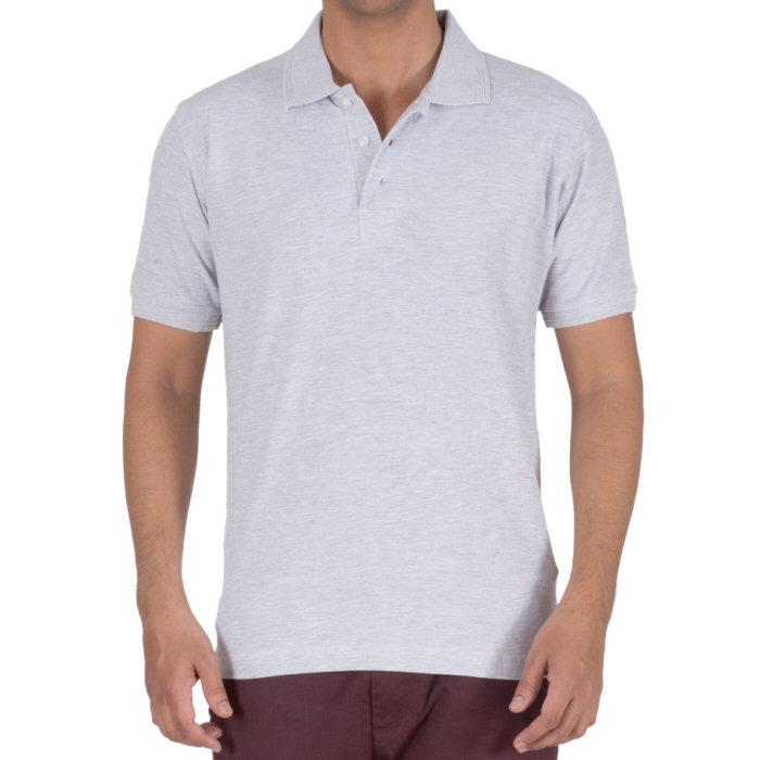 0e3b548d33a White Melange Plain Collar Polo 100% Cotton T-Shirt for Men