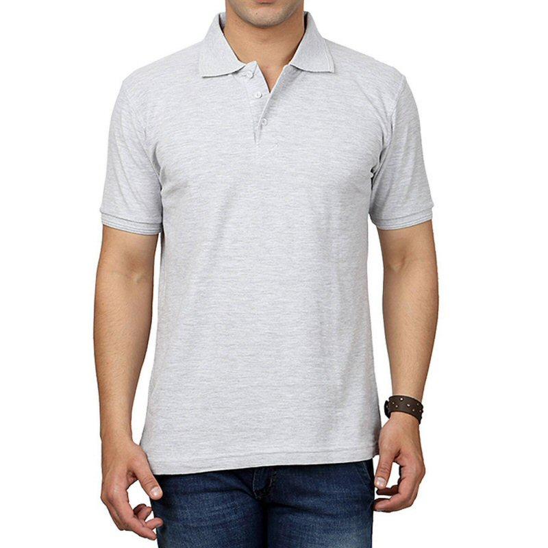 White Melange Plain Collar Polo T-shirt | Xtees